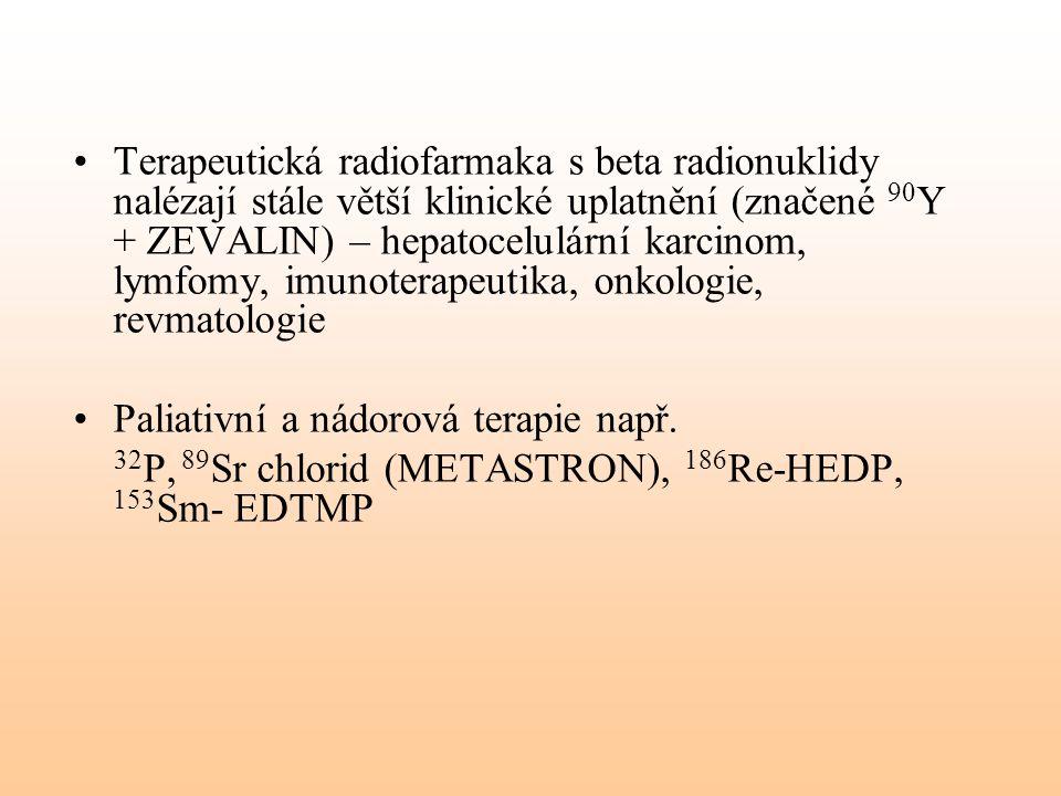 Terapeutická radiofarmaka s beta radionuklidy nalézají stále větší klinické uplatnění (značené 90 Y + ZEVALIN) – hepatocelulární karcinom, lymfomy, im