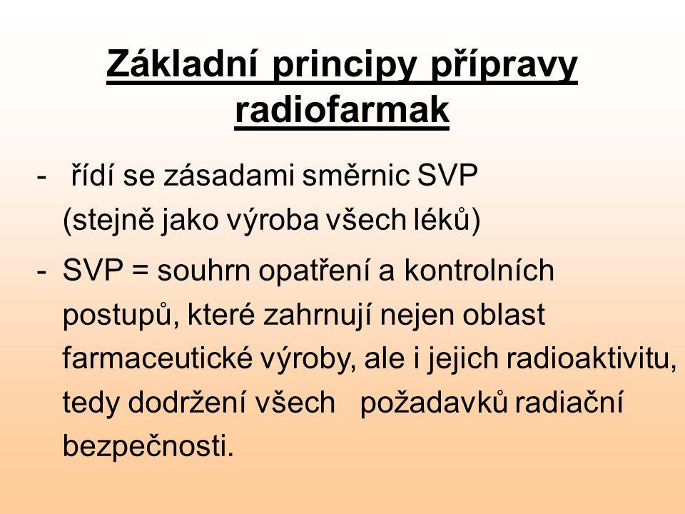Základní principy přípravy radiofarmak - řídí se zásadami směrnic SVP (stejně jako výroba všech léků) -SVP = souhrn opatření a kontrolních postupů, kt