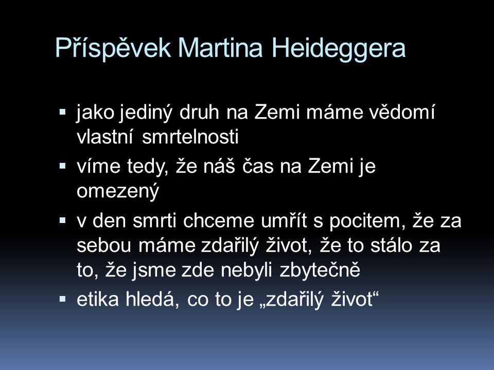 Příspěvek Martina Heideggera  jako jediný druh na Zemi máme vědomí vlastní smrtelnosti  víme tedy, že náš čas na Zemi je omezený  v den smrti chcem