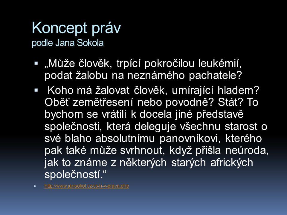 """Koncept práv podle Jana Sokola  """"Může člověk, trpící pokročilou leukémií, podat žalobu na neznámého pachatele?  Koho má žalovat člověk, umírající hl"""