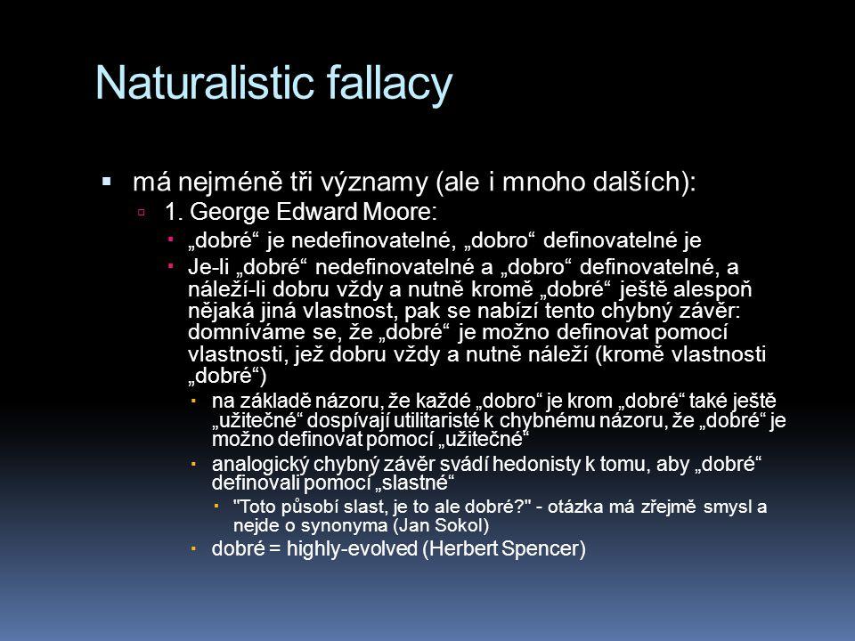 Naturalistic fallacy  má nejméně tři významy (ale i mnoho dalších):  1.