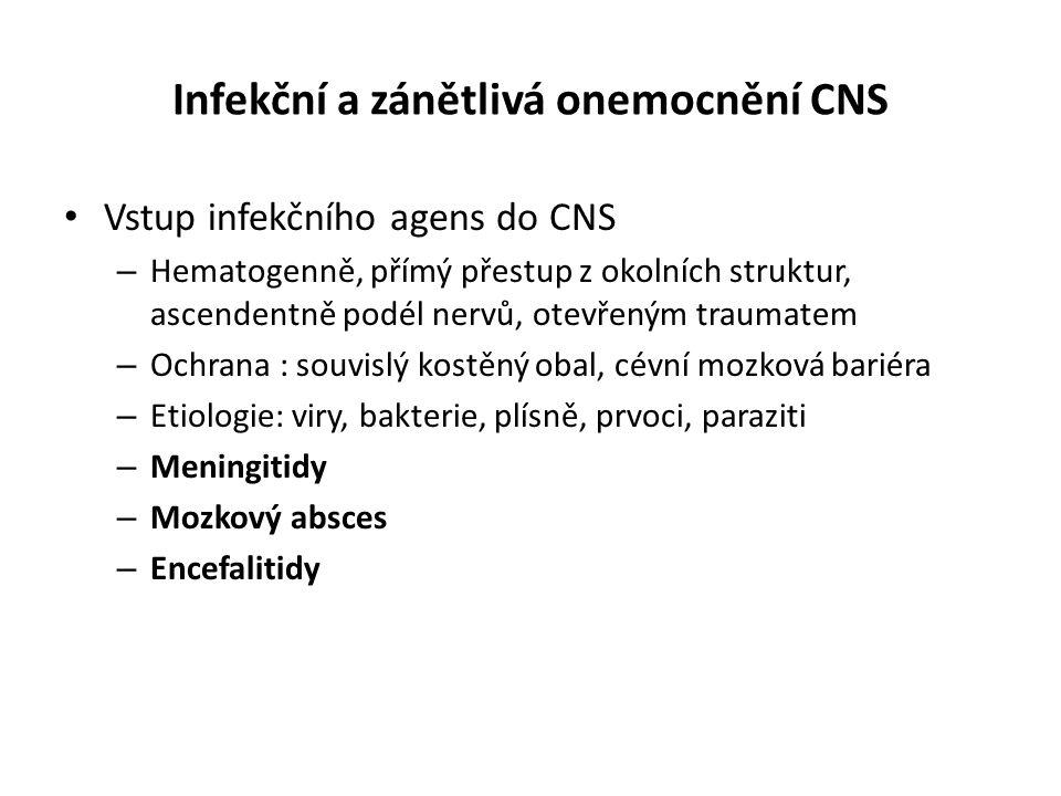 Infekční a zánětlivá onemocnění CNS Vstup infekčního agens do CNS – Hematogenně, přímý přestup z okolních struktur, ascendentně podél nervů, otevřeným