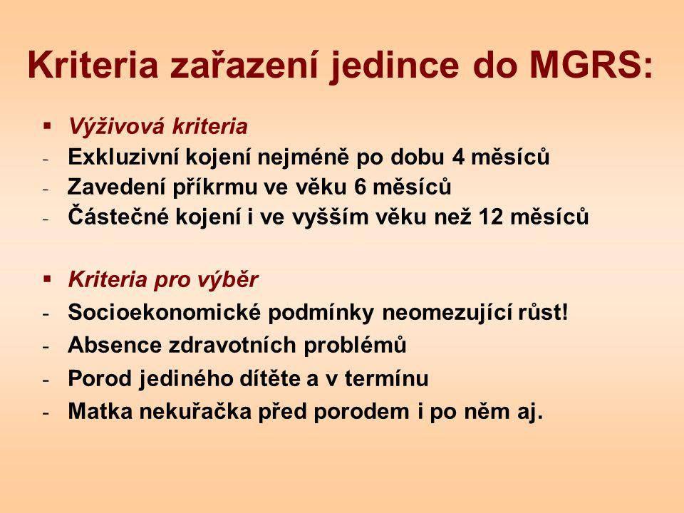 Kriteria zařazení jedince do MGRS:  Výživová kriteria - Exkluzivní kojení nejméně po dobu 4 měsíců - Zavedení příkrmu ve věku 6 měsíců - Částečné koj