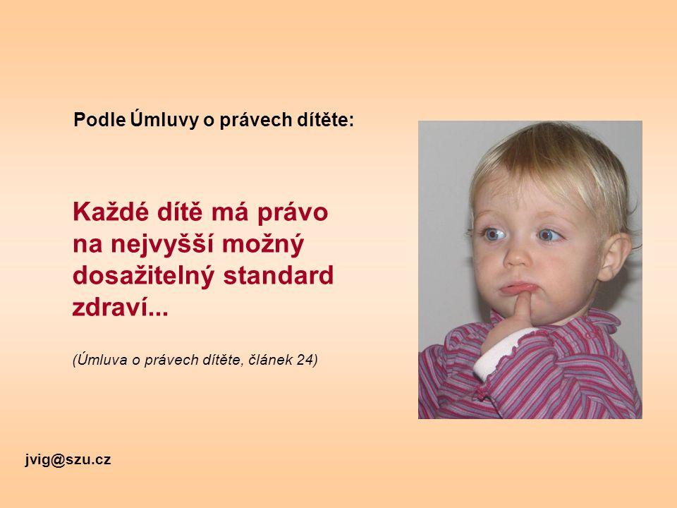 Každé dítě má právo na nejvyšší možný dosažitelný standard zdraví... (Úmluva o právech dítěte, článek 24) Podle Úmluvy o právech dítěte: jvig@szu.cz
