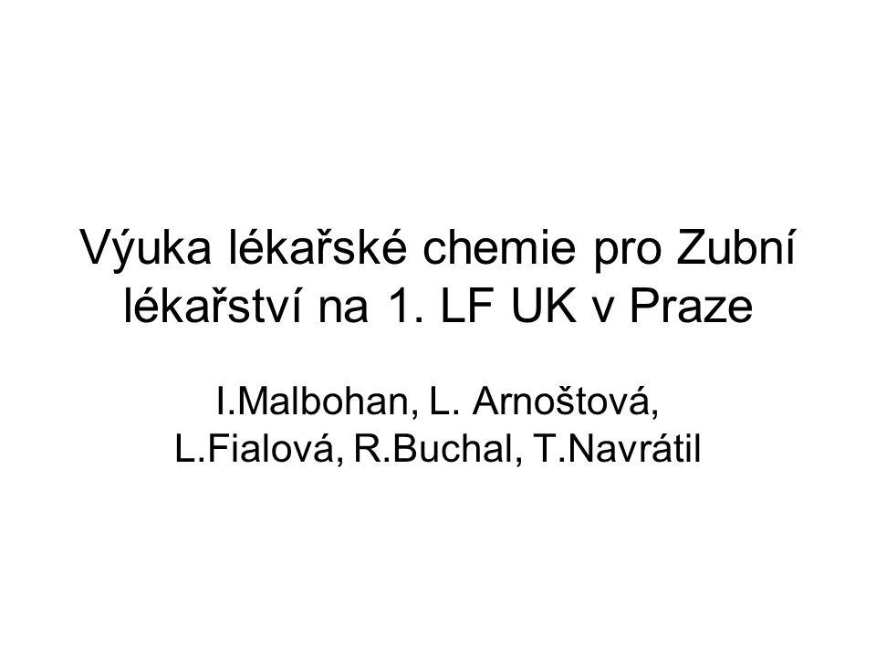 Výuka lékařské chemie pro Zubní lékařství na 1. LF UK v Praze I.Malbohan, L. Arnoštová, L.Fialová, R.Buchal, T.Navrátil