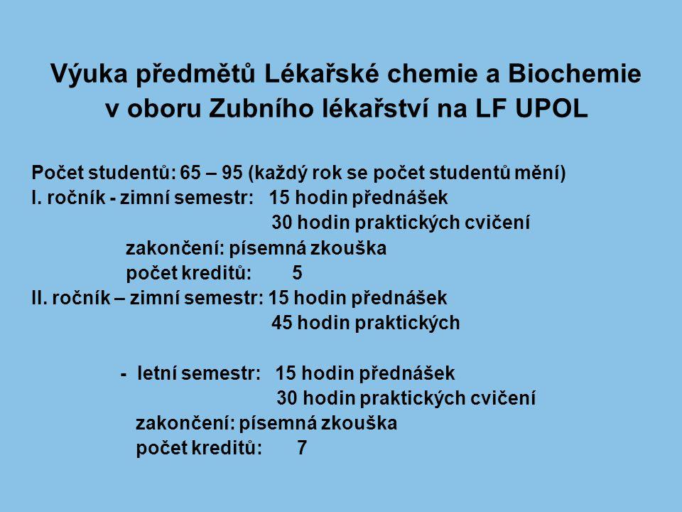Výuka předmětů Lékařské chemie a Biochemie v oboru Zubního lékařství na LF UPOL Počet studentů: 65 – 95 (každý rok se počet studentů mění) I. ročník -