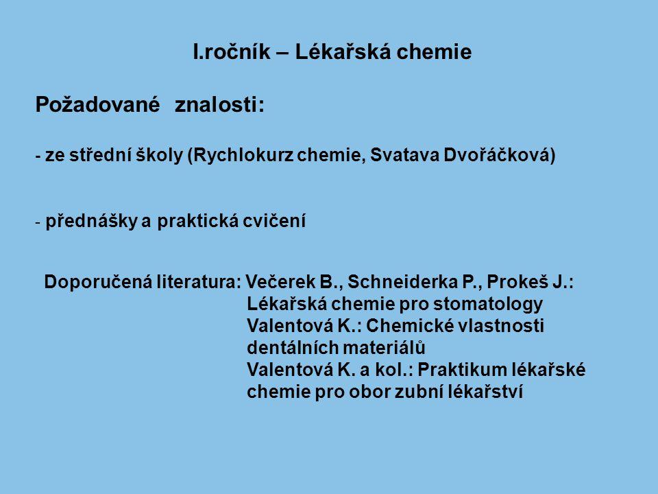 I.ročník – Lékařská chemie Požadované znalosti: - ze střední školy (Rychlokurz chemie, Svatava Dvořáčková) - přednášky a praktická cvičení Doporučená