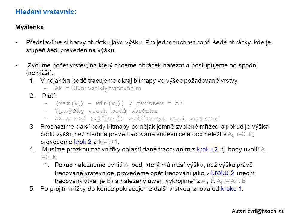 Autor: cyril@hoschl.cz Hledání vrstevnic: Myšlenka: -Představíme si barvy obrázku jako výšku. Pro jednoduchost např. šedé obrázky, kde je stupeň šedi
