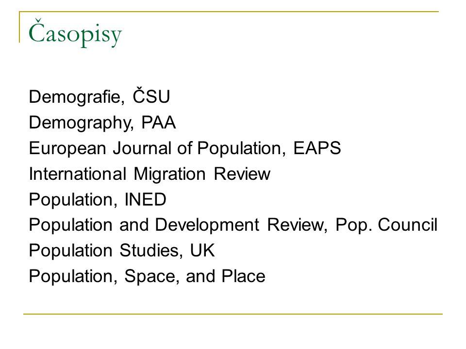 Časopisy Demografie, ČSU Demography, PAA European Journal of Population, EAPS International Migration Review Population, INED Population and Development Review, Pop.