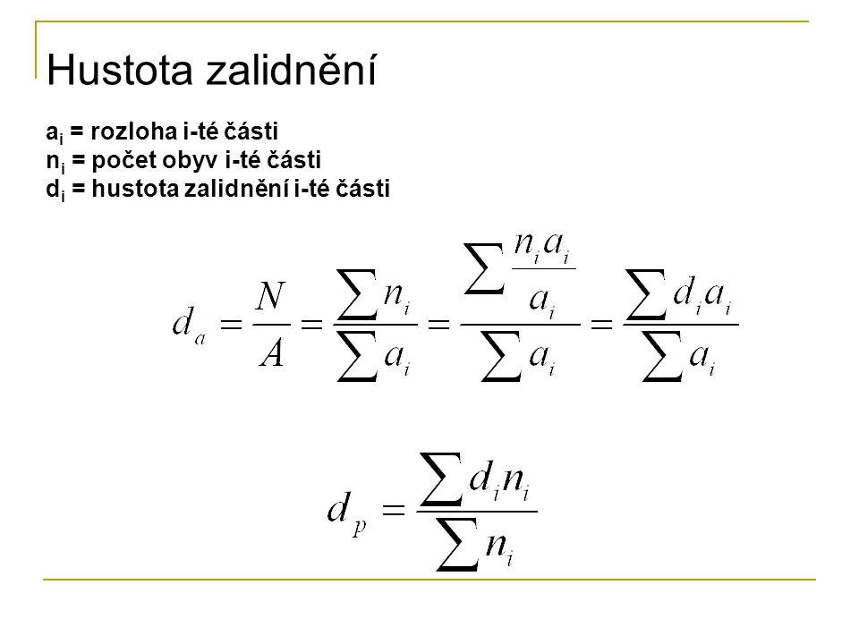 Hustota zalidnění a i = rozloha i-té části n i = počet obyv i-té části d i = hustota zalidnění i-té části