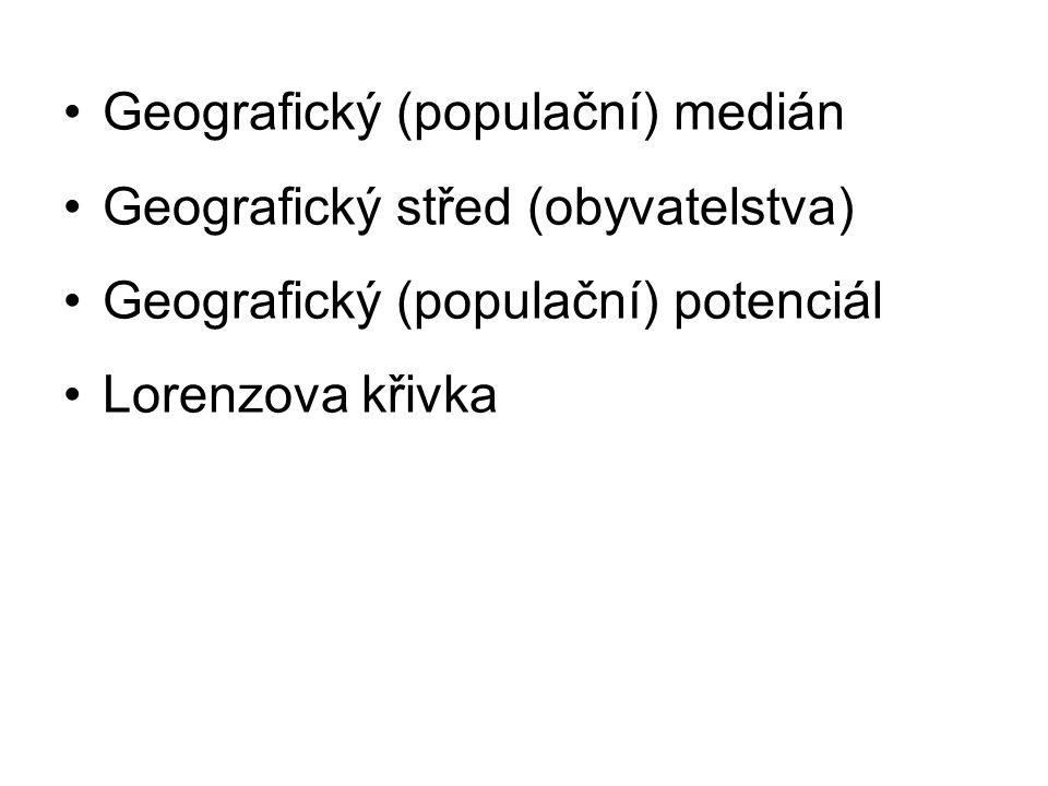 Geografický (populační) medián Geografický střed (obyvatelstva) Geografický (populační) potenciál Lorenzova křivka