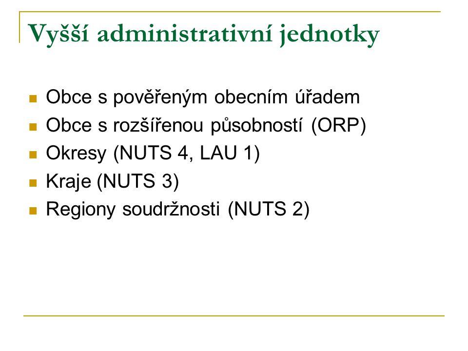 Počty územních jednotek Česka územní/statistická jednotkapočet jednotek zkratkanázev NUTS 0stát1 NUTS 1území1 NUTS 2region8 NUTS 3kraj14 NUTS 4 (LAU 1)okres77 NUTS 5 (LAU 2)obec6 250 ORPobce s rozšířenou působností206 PÚpověřené úřady394 KÚkatastrální území13 027 UTJúzemně technické jednotkycca +120 ČOčást obce15 060 ZSJzákladní sídelní jednotka21 906 UOurbanistický obvod6 869 (01) SOstatistický (sčítací) obvodcca 55 000