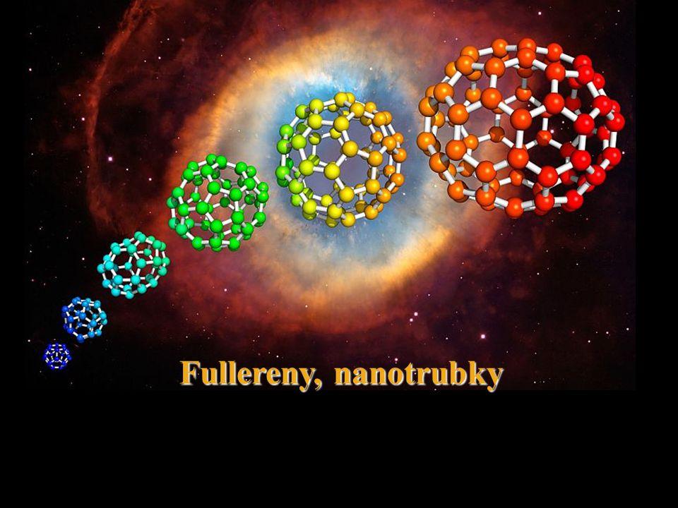 Chemie fullerenů: vlastnosti 12500 rezonančních struktur nejnižší energii má struktura, ve které jsou dvojné vazby mezi šestiúhelníky (6-6 vazby) a jednoduché vazby mezi šestiúhelníkem a pětiúhelníkem (6-5 vazby) 6-5 vazby (1,45 Ǻ); 6-6 (1,38 Ǻ) nenasycený polyen (nikoliv delokalizace, aromaticita!!!) uhlíky v C 60 – sp 2 hybridizace, uspořádání pyramidální, nikoliv planární-pnutí C 60 elektronegativní, lze snadno redukovat www.uochb.cas.cz/Zpravy/PostGrad2004/7_Lhotak.pdf