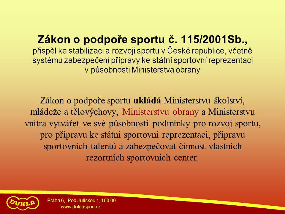 Praha 6, Pod Juliskou 1, 160 00 www.duklasport.cz Zákon o podpoře sportu č. 115/2001Sb., přispěl ke stabilizaci a rozvoji sportu v České republice, vč