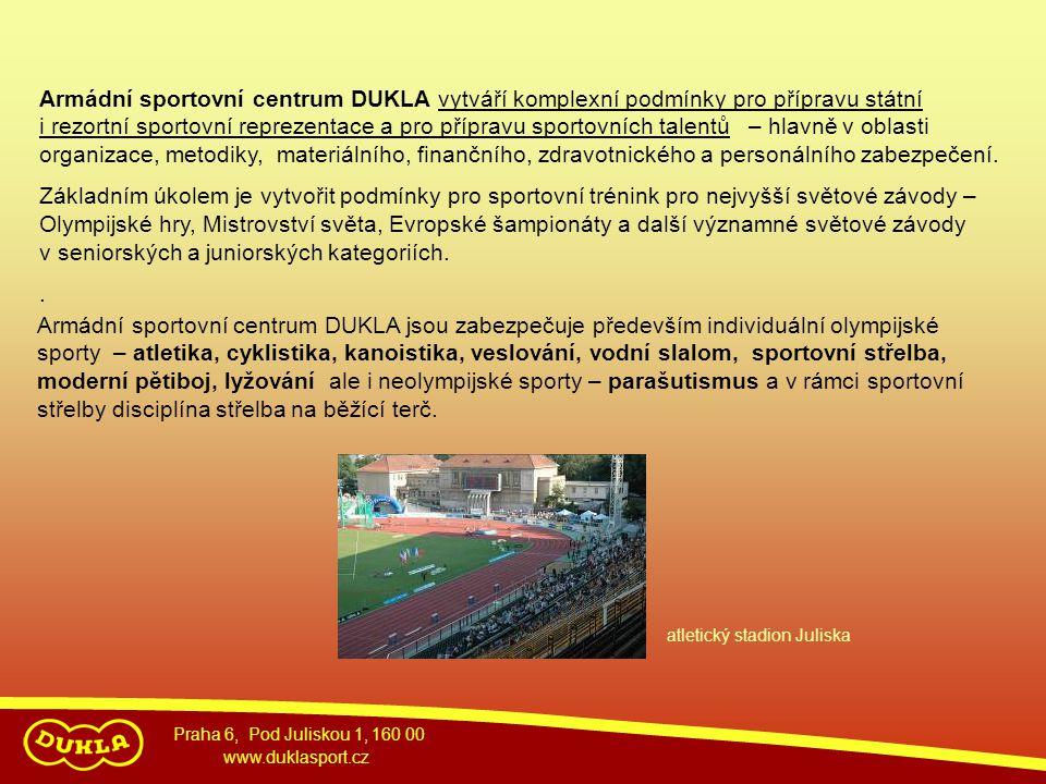 Praha 6, Pod Juliskou 1, 160 00 www.duklasport.cz Sportovní přípravy probíhá v armádních sportovních oddílech DUKLA, případně v tréninkových skupinách.