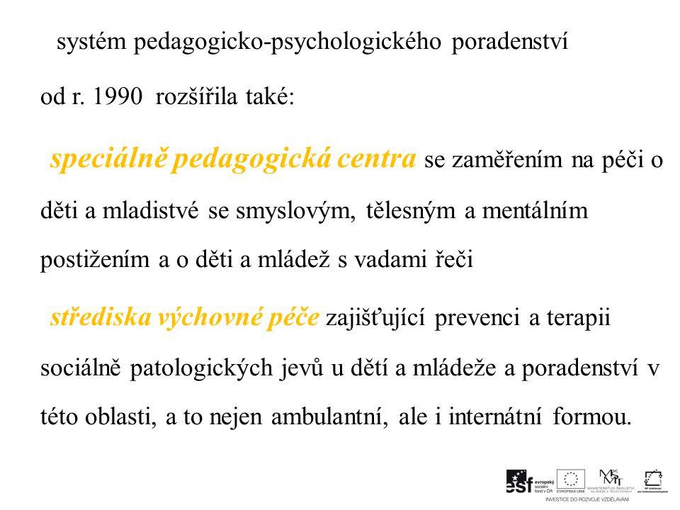 systém pedagogicko-psychologického poradenství od r.