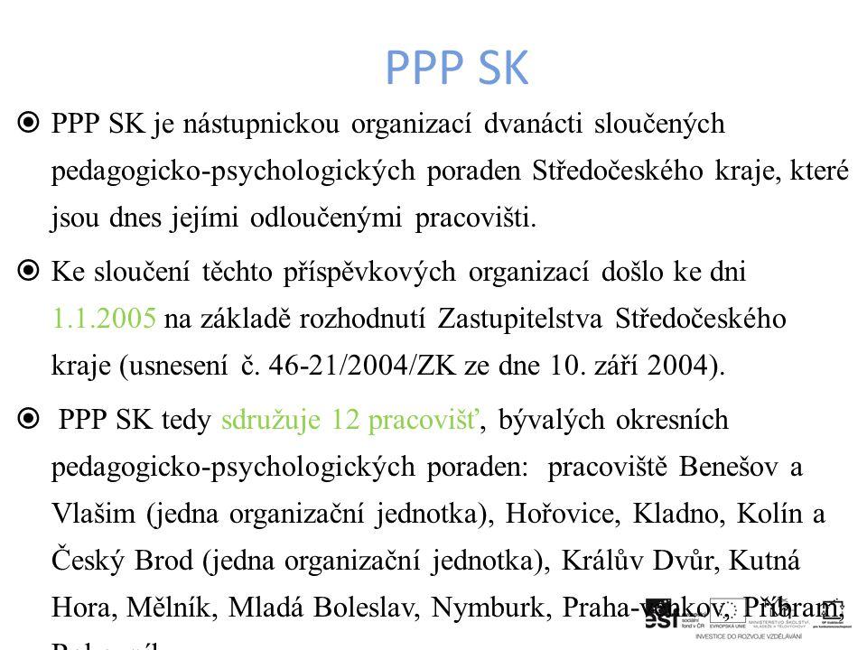  PPP SK je nástupnickou organizací dvanácti sloučených pedagogicko-psychologických poraden Středočeského kraje, které jsou dnes jejími odloučenými pracovišti.
