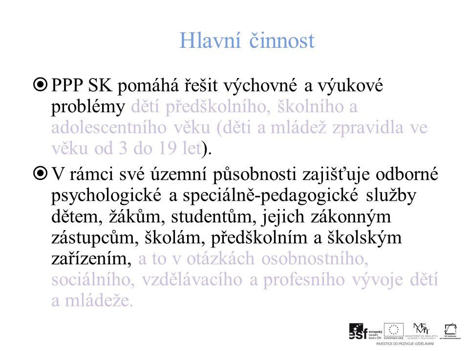 Hlavní činnost  PPP SK pomáhá řešit výchovné a výukové problémy dětí předškolního, školního a adolescentního věku (děti a mládež zpravidla ve věku od 3 do 19 let).