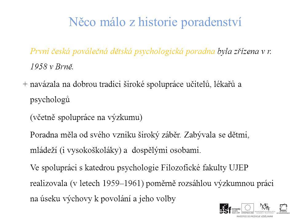Něco málo z historie poradenství První česká poválečná dětská psychologická poradna byla zřízena v r.