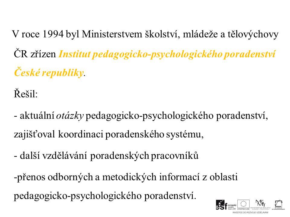 V roce 1994 byl Ministerstvem školství, mládeže a tělovýchovy ČR zřízen Institut pedagogicko-psychologického poradenství České republiky.