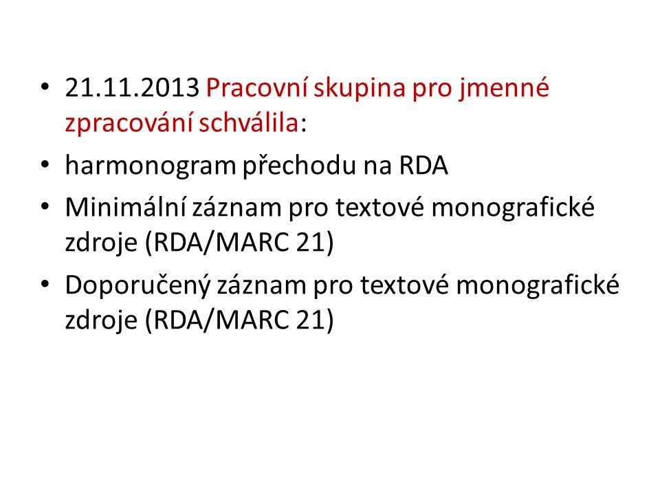 21.11.2013 Pracovní skupina pro jmenné zpracování schválila: harmonogram přechodu na RDA Minimální záznam pro textové monografické zdroje (RDA/MARC 21