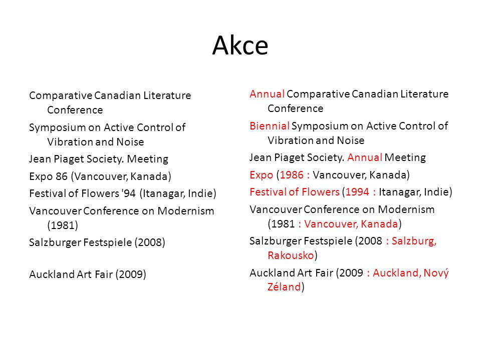 Akce Comparative Canadian Literature Conference Symposium on Active Control of Vibration and Noise Jean Piaget Society. Meeting Expo 86 (Vancouver, Ka