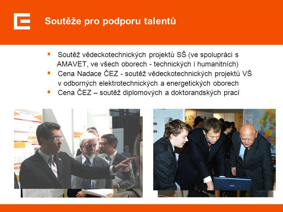 Soutěže pro podporu talentů  Soutěž vědeckotechnických projektů SŠ (ve spolupráci s AMAVET, ve všech oborech - technických i humanitních)  Cena Nada