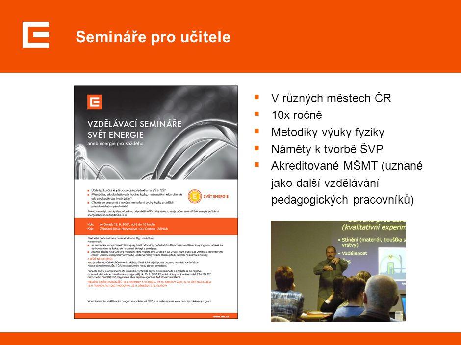 Semináře pro učitele  V různých městech ČR  10x ročně  Metodiky výuky fyziky  Náměty k tvorbě ŠVP  Akreditované MŠMT (uznané jako další vzděláván