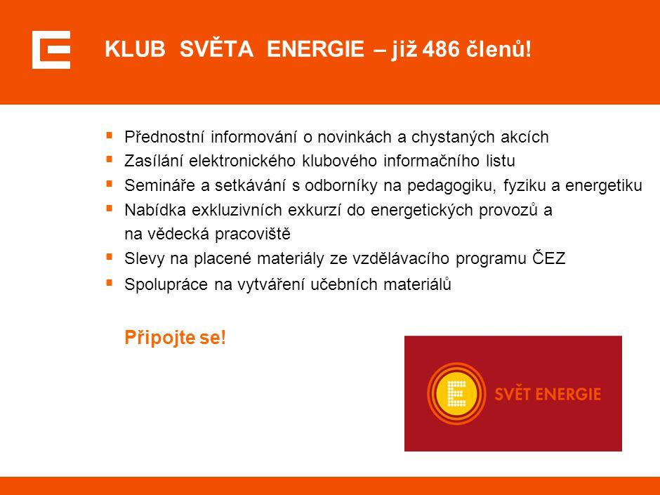 KLUB SVĚTA ENERGIE – již 486 členů!  Přednostní informování o novinkách a chystaných akcích  Zasílání elektronického klubového informačního listu 
