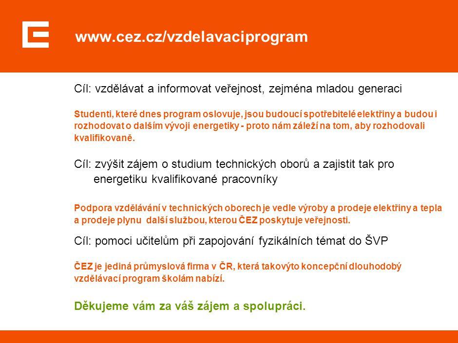 www.cez.cz/vzdelavaciprogram Cíl: vzdělávat a informovat veřejnost, zejména mladou generaci Studenti, které dnes program oslovuje, jsou budoucí spotře