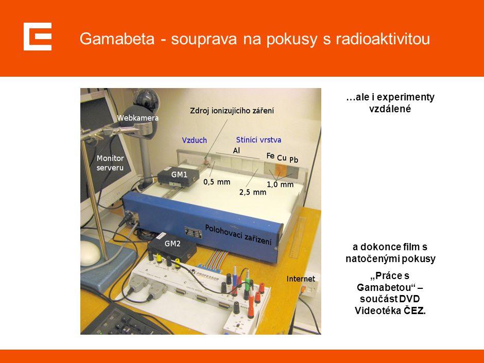 """Gamabeta - souprava na pokusy s radioaktivitou …ale i experimenty vzdálené a dokonce film s natočenými pokusy """"Práce s Gamabetou"""" – součást DVD Videot"""