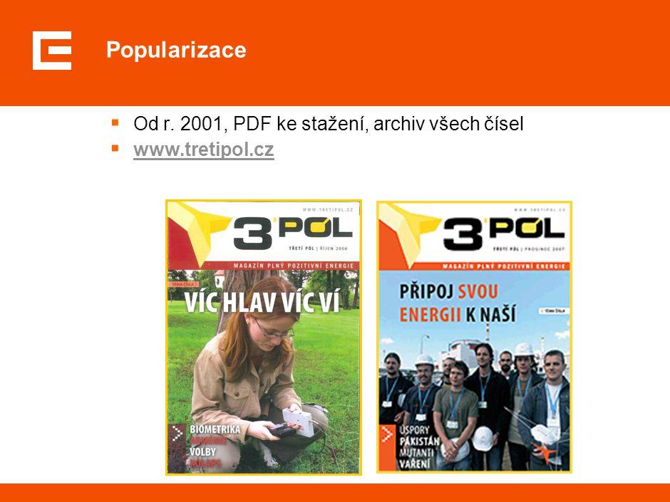 Popularizace  Od r. 2001, PDF ke stažení, archiv všech čísel  www.tretipol.czwww.tretipol.cz