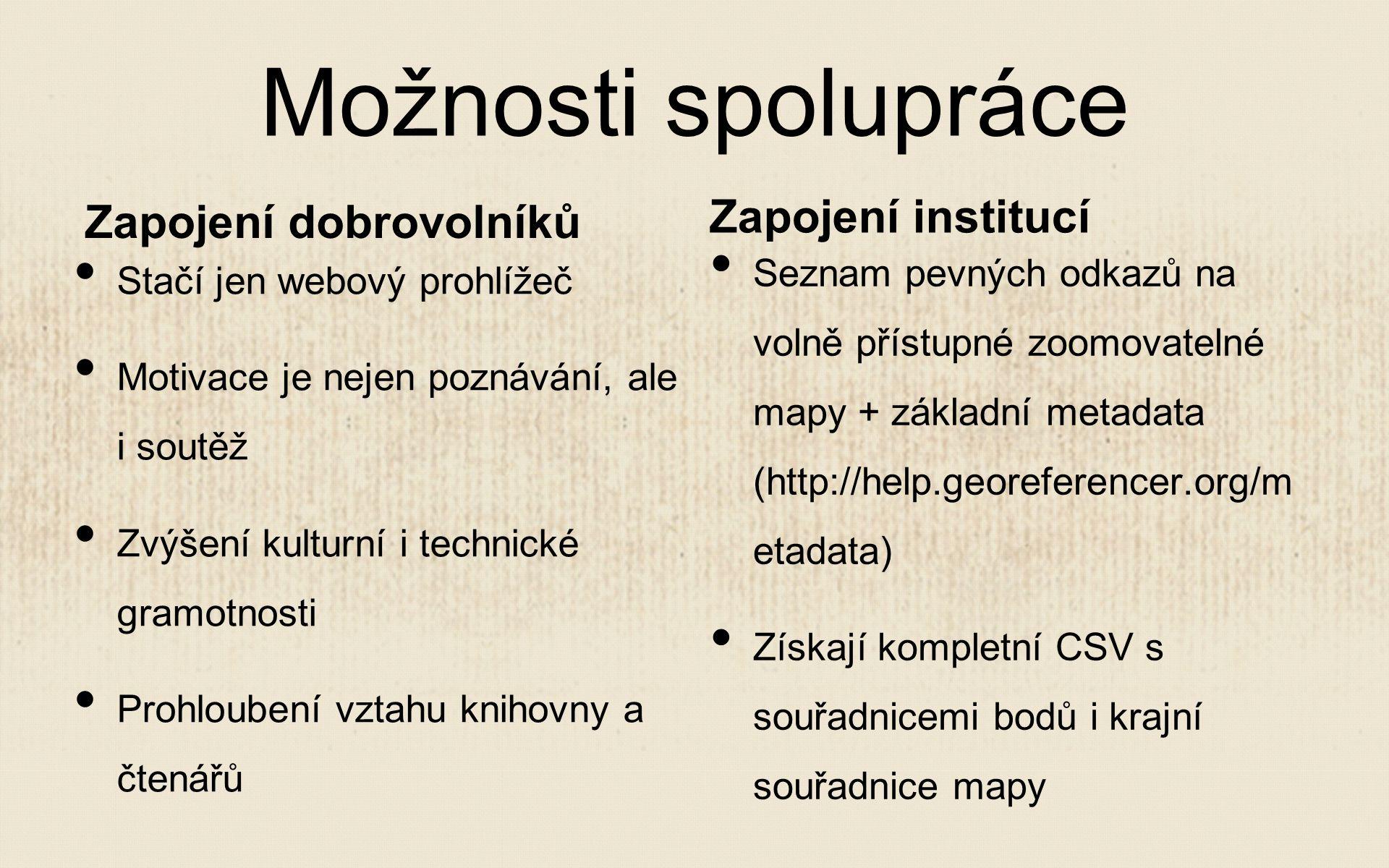 Možnosti spolupráce Zapojení dobrovolníků Stačí jen webový prohlížeč Motivace je nejen poznávání, ale i soutěž Zvýšení kulturní i technické gramotnosti Prohloubení vztahu knihovny a čtenářů Zapojení institucí Seznam pevných odkazů na volně přístupné zoomovatelné mapy + základní metadata (http://help.georeferencer.org/m etadata) Získají kompletní CSV s souřadnicemi bodů i krajní souřadnice mapy