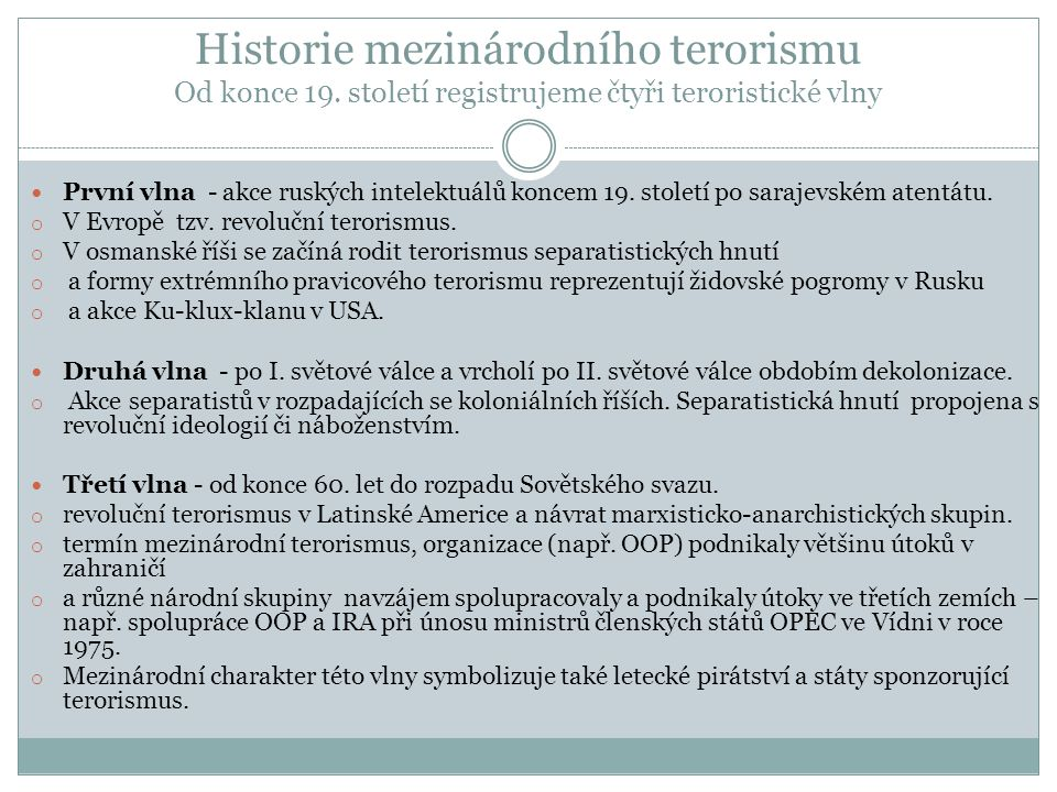 Historie mezinárodního terorismu Od konce 19.