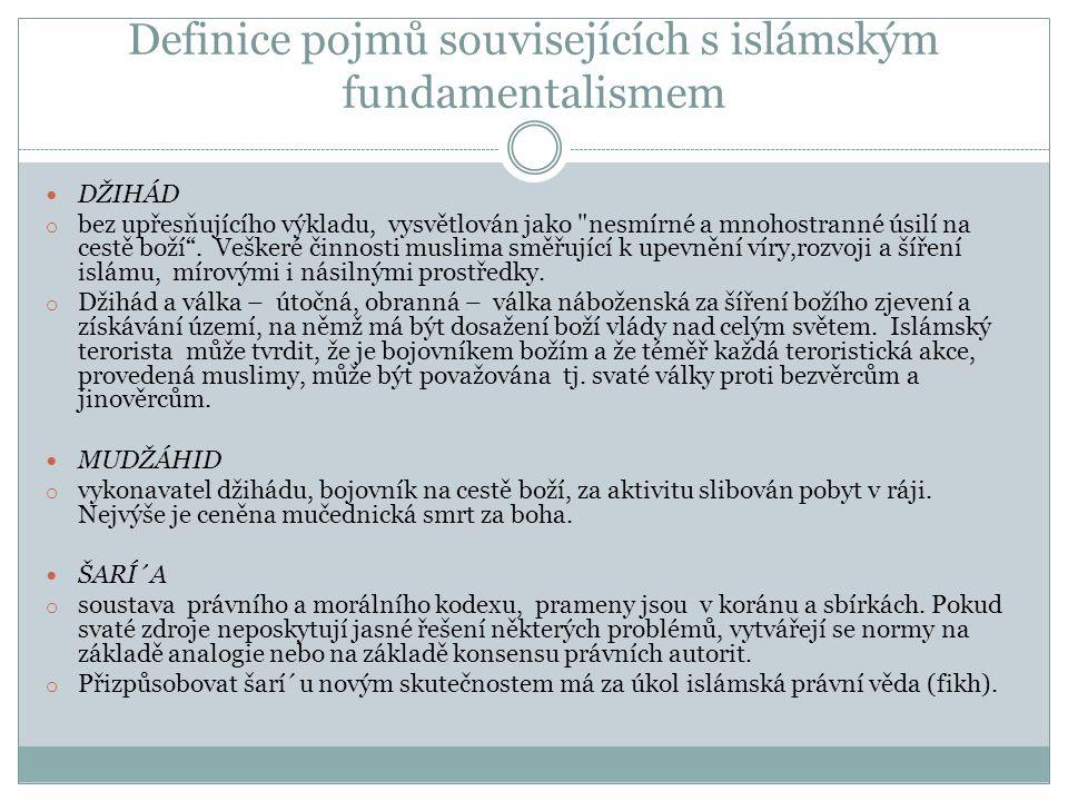 Definice pojmů souvisejících s islámským fundamentalismem DŽIHÁD o bez upřesňujícího výkladu, vysvětlován jako nesmírné a mnohostranné úsilí na cestě boží .