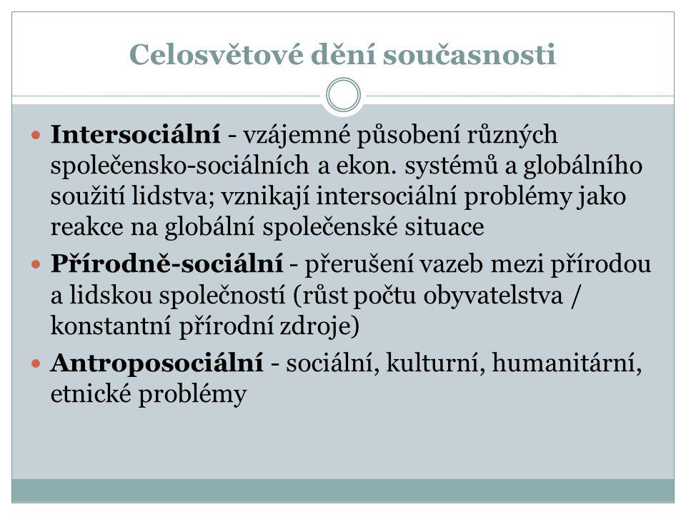 Celosvětové dění současnosti Intersociální - vzájemné působení různých společensko-sociálních a ekon.