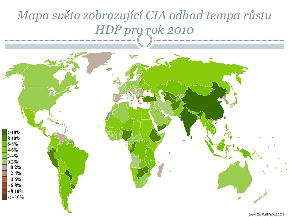 Mapa světa zobrazující CIA odhad tempa růstu HDP pro rok 2010