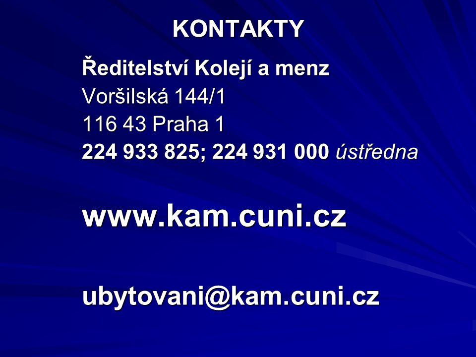 Ubytování v kolejích UK Kapacita lůžek 13 400 ve 20 objektech v Praze, Brandýse n.