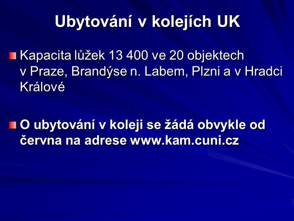 Ubytování v kolejích UK Kapacita lůžek 13 400 ve 20 objektech v Praze, Brandýse n. Labem, Plzni a v Hradci Králové O ubytování v koleji se žádá obvykl