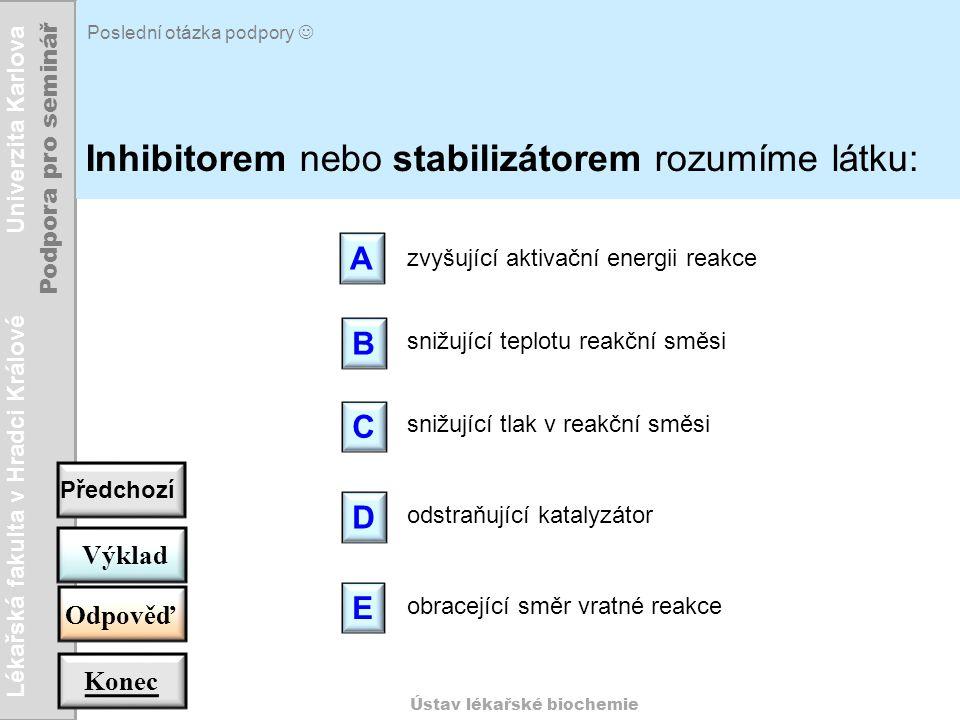 Lékařská fakulta v Hradci Králové Univerzita Karlova Podpora pro seminář Ústav lékařské biochemie Poslední otázka podpory Inhibitorem nebo stabilizáto