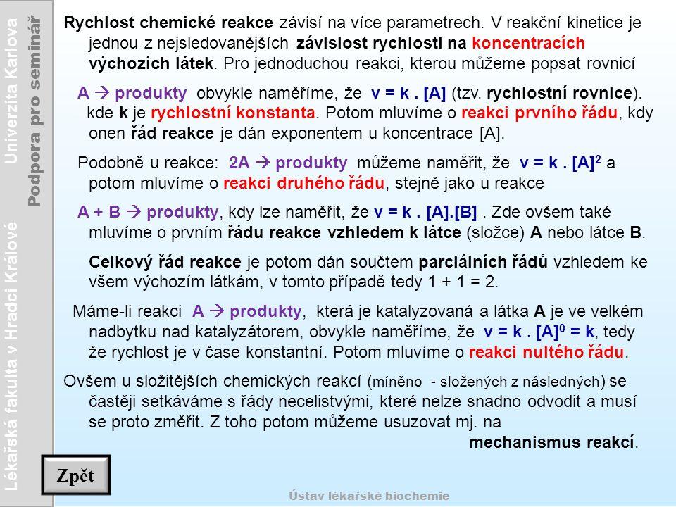 Lékařská fakulta v Hradci Králové Univerzita Karlova Podpora pro seminář Ústav lékařské biochemie Rychlost chemické reakce závisí na více parametrech.