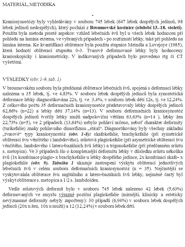 MATERIÁL, METODIKA Kraniosynostózy byly vyhledávány v souboru 745 lebek (647 lebek dospělých jedinců, 98 lebek jedinců nedospělých), který pochází z B