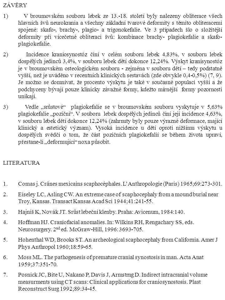 ZÁVĚRY 1) V broumovském souboru lebek ze 13.-18. století byly nalezeny obliterace všech hlavních švů neurokrania a všechny základní tvarové deformity