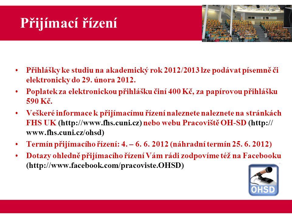 Přihlášky ke studiu na akademický rok 2012/2013 lze podávat písemně či elektronicky do 29.