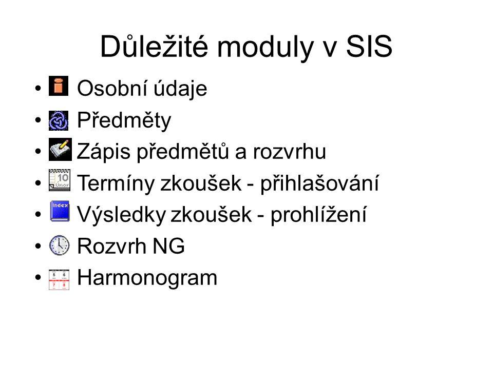 Důležité moduly v SIS Osobní údaje Předměty Zápis předmětů a rozvrhu Termíny zkoušek - přihlašování Výsledky zkoušek - prohlížení Rozvrh NG Harmonogra