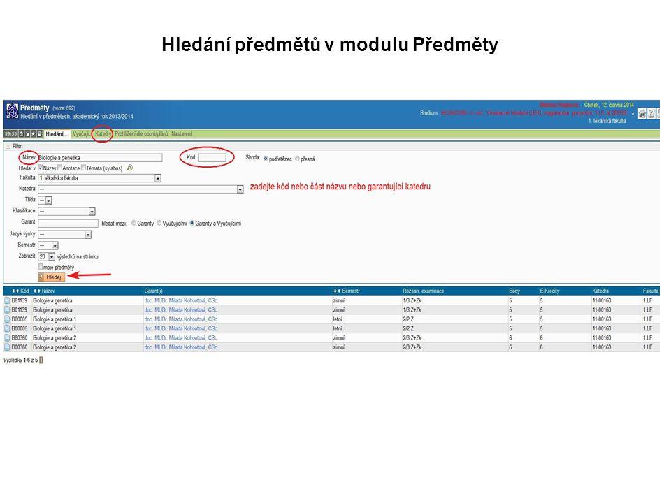 Hledání předmětů v modulu Předměty