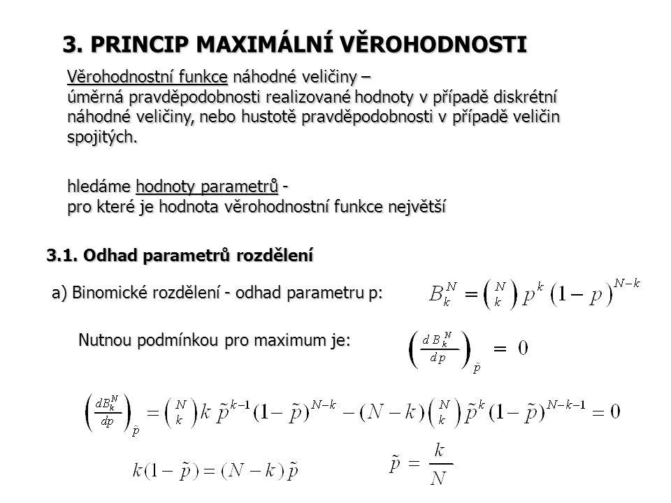 3. PRINCIP MAXIMÁLNÍ VĚROHODNOSTI Věrohodnostní funkce náhodné veličiny – úměrná pravděpodobnosti realizované hodnoty v případě diskrétní náhodné veli