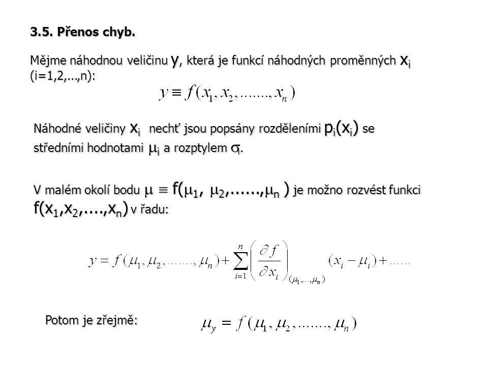 3.5. Přenos chyb. Mějme náhodnou veličinu y, která je funkcí náhodných proměnných x i (i=1,2,...,n): Náhodné veličiny x i nechť jsou popsány rozdělení