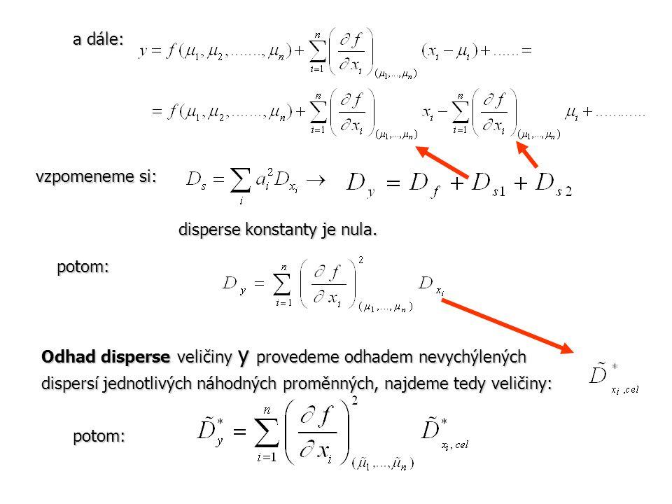 a dále: vzpomeneme si: disperse konstanty je nula. Odhad disperse veličiny y provedeme odhadem nevychýlených dispersí jednotlivých náhodných proměnnýc