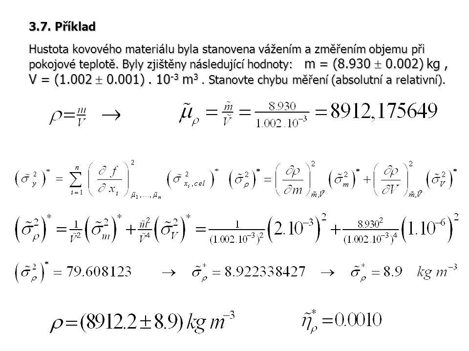 3.7. Příklad Hustota kovového materiálu byla stanovena vážením a změřením objemu při pokojové teplotě. Byly zjištěny následující hodnoty: m = (8.930 